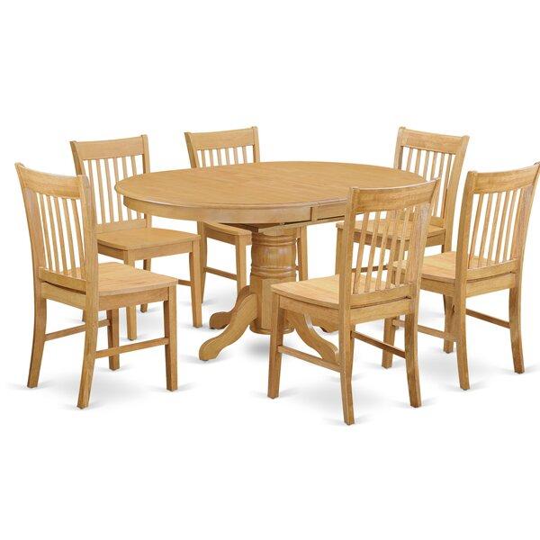 Emmaline 7 Piece Solid Wood Dining Set by Alcott Hill Alcott Hill