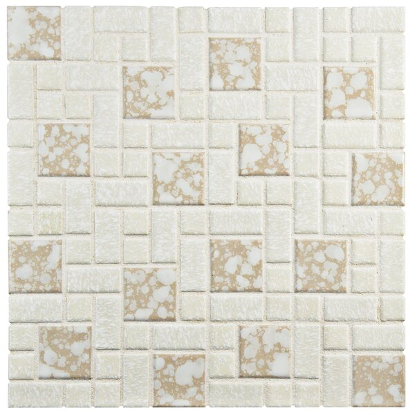 Academy Random Sized Porcelain Mosaic Tile in Bone by EliteTile