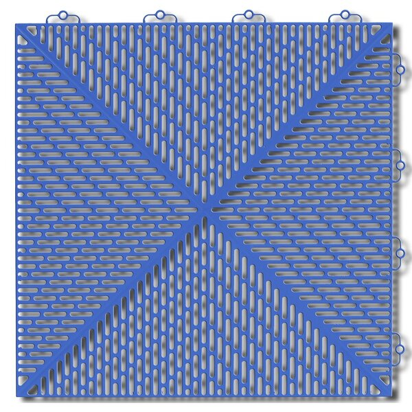 Bergo Soft Antimicrobial Polyethylene 14.88 x 14.88 Loose Lay/Interlocking Deck Tiles in Light Blue (Set of 35) by Mats Inc.