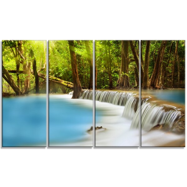 Huai Mae Kamin Waterfall 4 Piece Photographic Print on Wrapped Canvas Set by Design Art