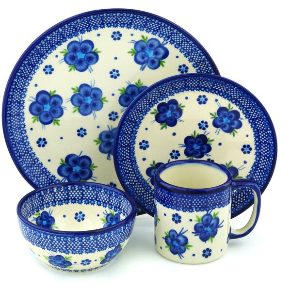 Fleur Polish Pottery 4 Piece Place Setting, Service for 1 by Polmedia