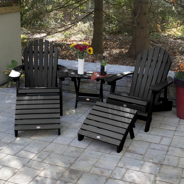 Deerpark Plastic/Resin Folding Adirondack Chairs with Table by Longshore Tides Longshore Tides
