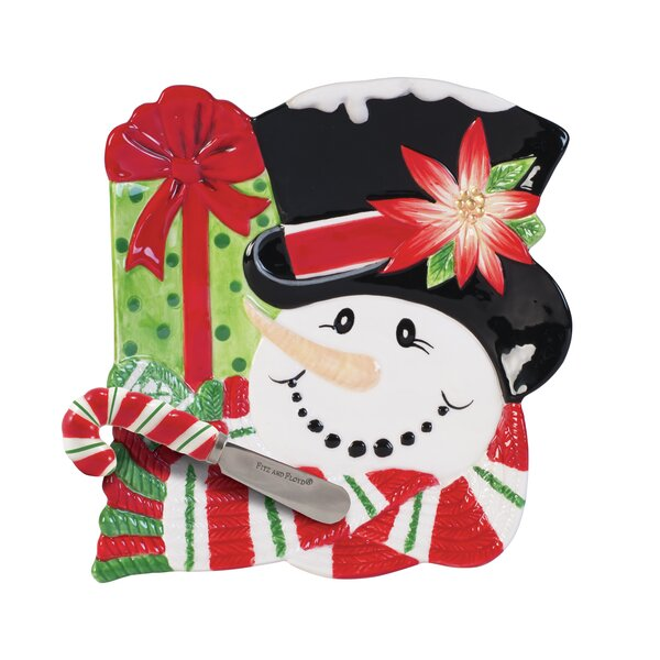 Top Hat Frosty Snack Platter with Spreader by Fitz and Floyd