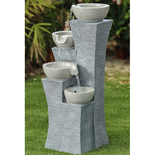 Resin Four-Tiered Modern-style Water Fountain by Jeco Inc.
