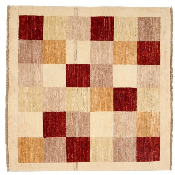 One-of-a-Kind Gabbeh Hand-Knotted Ivory Area Rug by Darya Rugs