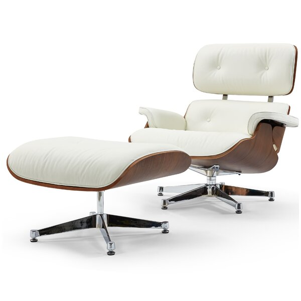Leather Lounge Chair and Ottoman by Pasargad
