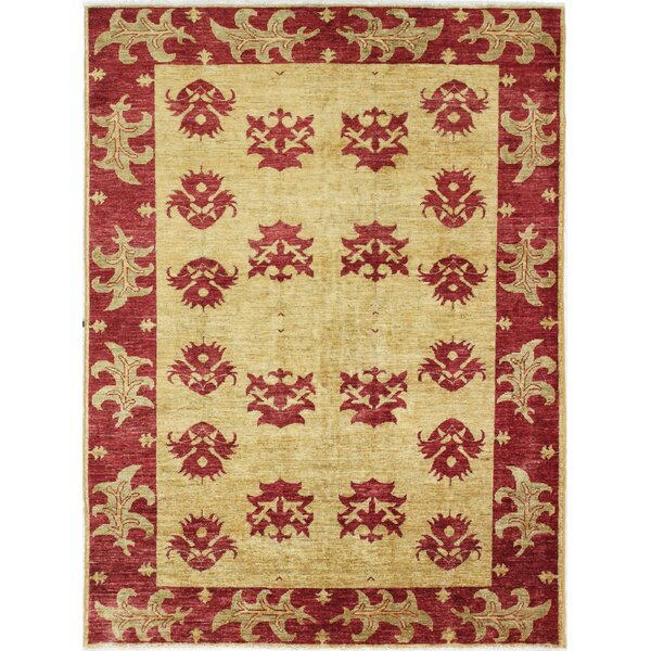 One-of-a-Kind Curtsinger Hand-Woven Wool Gold/Red Area Rug by Fleur De Lis Living