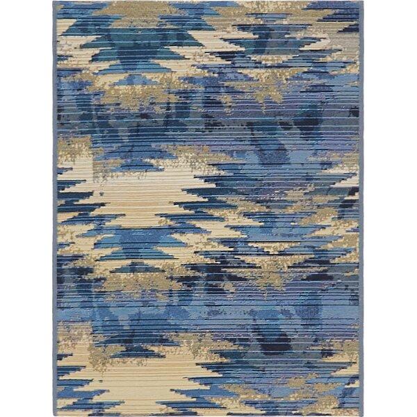 Avila Blue Abstract Indoor/Outdoor Area Rug by Brayden Studio