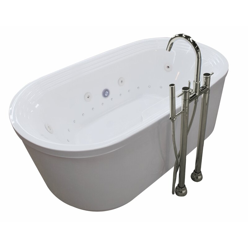 ANZZI Sol Triple Handle Floor Mounted Claw Foot Bathtub Faucet with ...