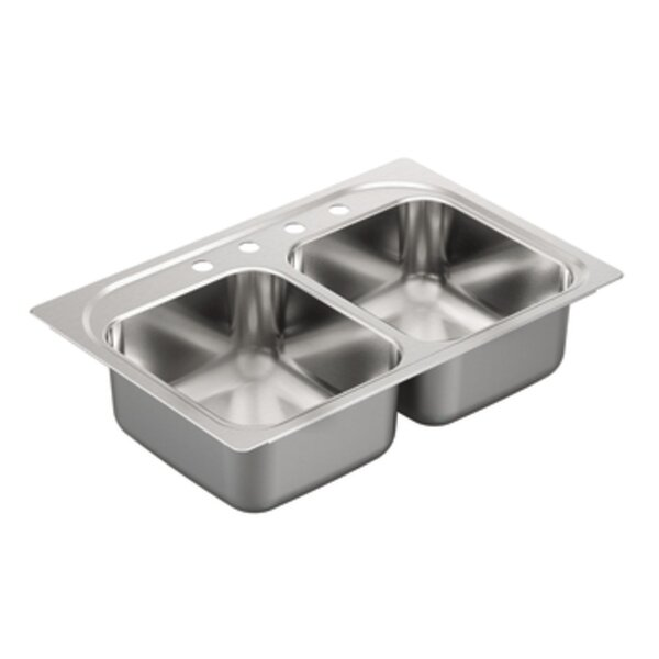 2200 Series 14 L x 16 W 2 Drop-In Kitchen Sink by Moen