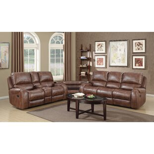 Stampley Leather Air Nailhead Manual Reclining Living Room Set With Storage Console And Usb Port Of 2