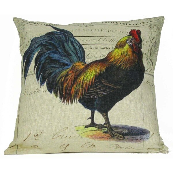Blue Tail Rooster Throw Pillow by Golden Hill Studio