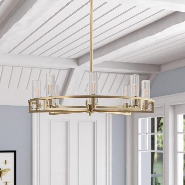 Hempel 8-Light Wagon Wheel Chandelier By Mercer41