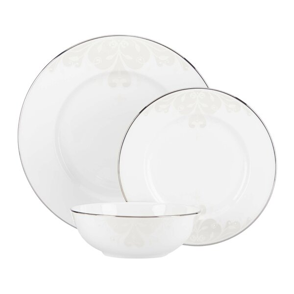 Opal Innocence Scroll Bone China 3 Piece Place Setting, Service for 1 by Lenox