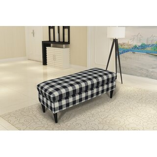 Gracie Oaks Bradford Large Decorative Bench With Pillow Top in , Black Buffalo Check by Gracie Oaks SKU:EA220174 Shop