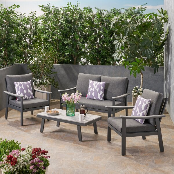 Leslee Outdoor 4 Piece Sofa Seating Group with Cushions by Corrigan Studio