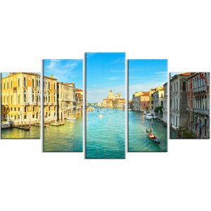 'Vibrant Evening Venice Italy ' 5 Piece Wall Art on Wrapped Canvas Set by Design Art