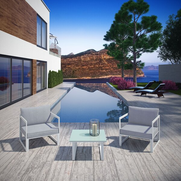 Annemarie Outdoor Patio 3 Piece Sofa Seating Group with Cushions by Modern Rustic Interiors