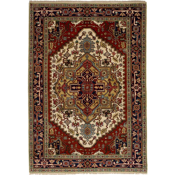 One-of-a-Kind Doerr Hand-Knotted Wool Dark Navy/Red Area Rug by Isabelline