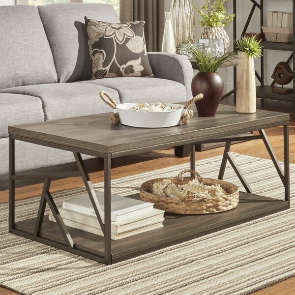 Derwood Metal Distressed Wood Coffee Table by Mercury Row