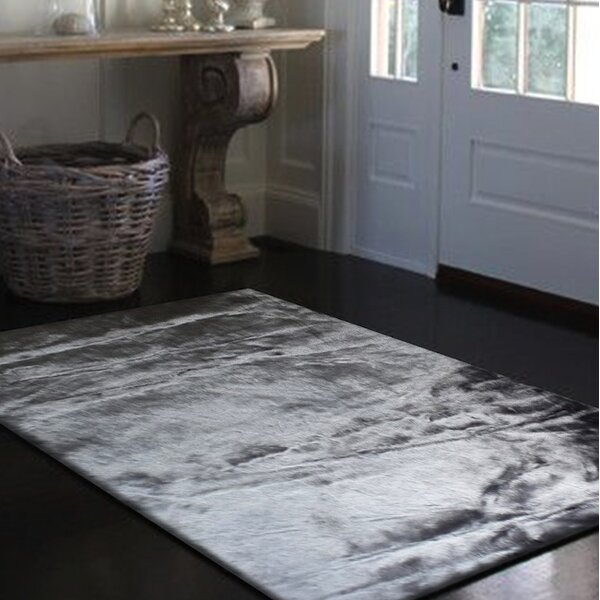 Mizzone Faux Sheepskin Gray Area Rug by Everly Quinn