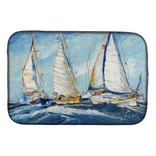 Roll Me Over Sailboats Dish Drying Mat by Caroline's Treasures