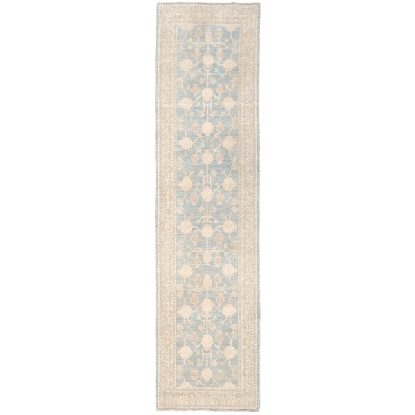 Vegetable Dye Hand-Knotted Blue/Ivory Area Rug by Herat Oriental