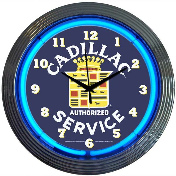 Cars and Motorcycles 15 Cadillac Service Wall Clock by Neonetics