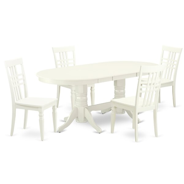 Gullette 5 Piece Extendable Solid Wood Dining Set by Winston Porter Winston Porter