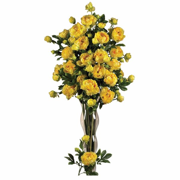 38.5 Peony with Leaves Floral Arrangements in Yellow (Set of 12) by Nearly Natural