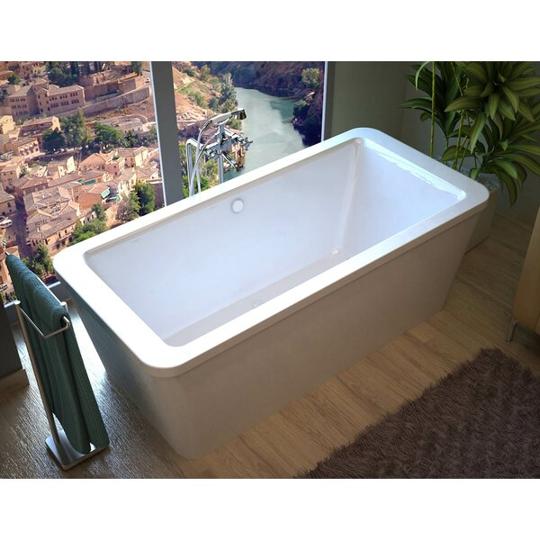 Buena 66.7 x 32 Rectangular Freestanding Soaking Bathtub with Center Drain by Spa Escapes