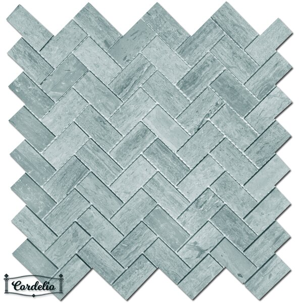 1 x 2 Marble Mosaic Tile in Blue Savoy