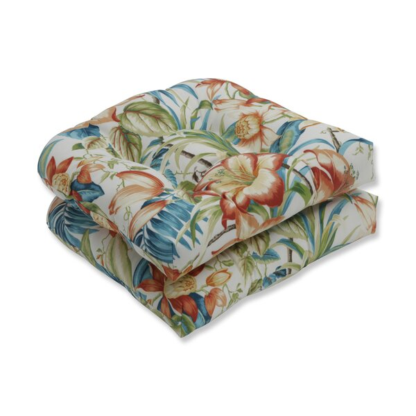 Botanical Glow Tiger Lily Indoor/Outdoor Rocking Chair Cushion (Set of 2) by Bay Isle Home