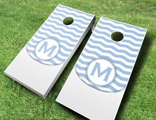 Wedding Chevron Initial Cornhole Set by AJJ Cornhole