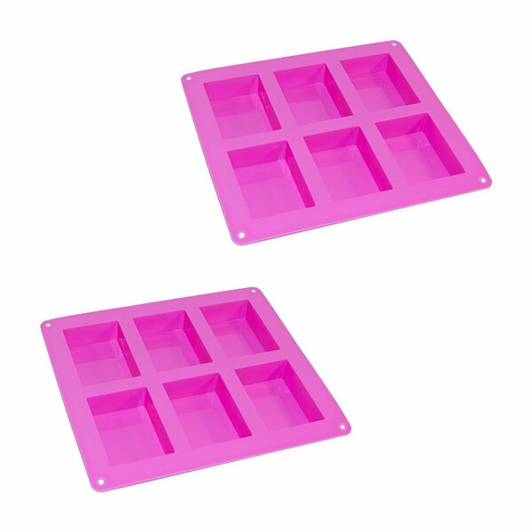 6 Cup Silicone Rectangle Bread Mold Tray (Set of 2) by ALEKO
