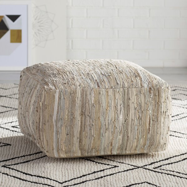 Anthracite Leather Pouf by Surya