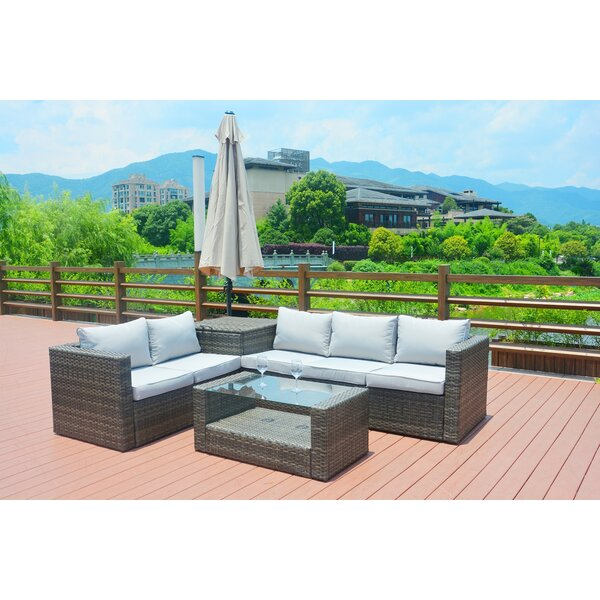 Messier 4 Piece Rattan Sectional Seating Group with Cushions
