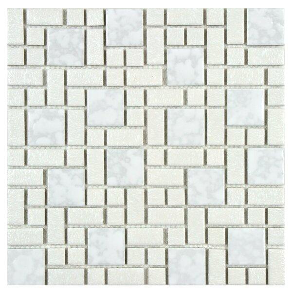 Academy Random Sized Porcelain Mosaic Tile in White by EliteTile
