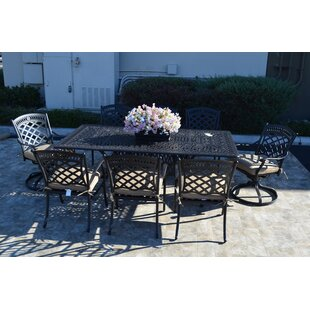 Wildermuth Modern 9 Piece Dining Set with Cushions By Fleur De Lis Living