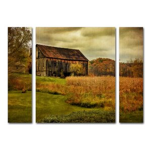 Ryegate Old Barn on Rainy Day 3 Piece Painting Print on Wrapped Canvas Set by August Grove