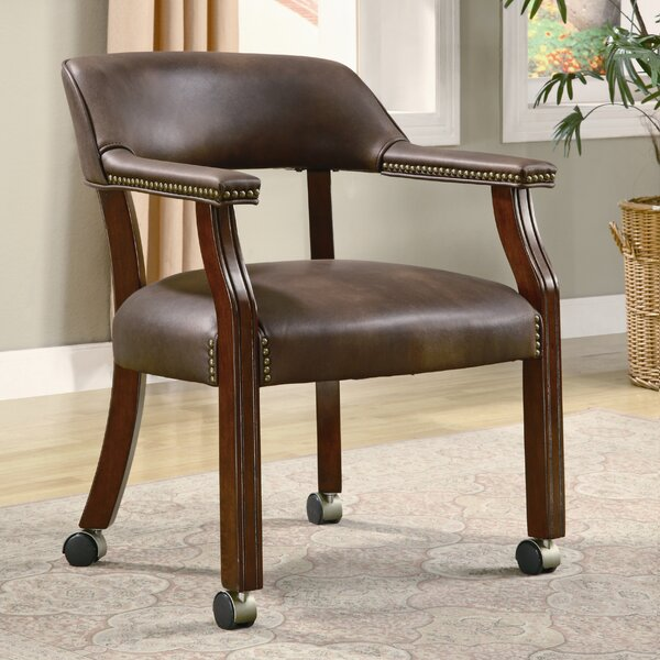 De Witt Mid-Back Leather Desk Chair by Alcott Hill