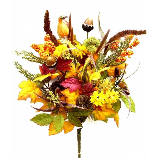 12 Artifical Pumpkins, Pine Cone, Acones, Leaves, Filler Fall Harvest Bush for Halloween or Thanksgiving Decoration Arrangement by Admired by Nature