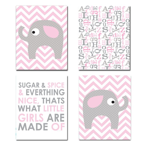 The Kids Room Pink and Gray Chevron Elephant 4 Piece Graphic Art Wall Plaque Set by Stupell Industries
