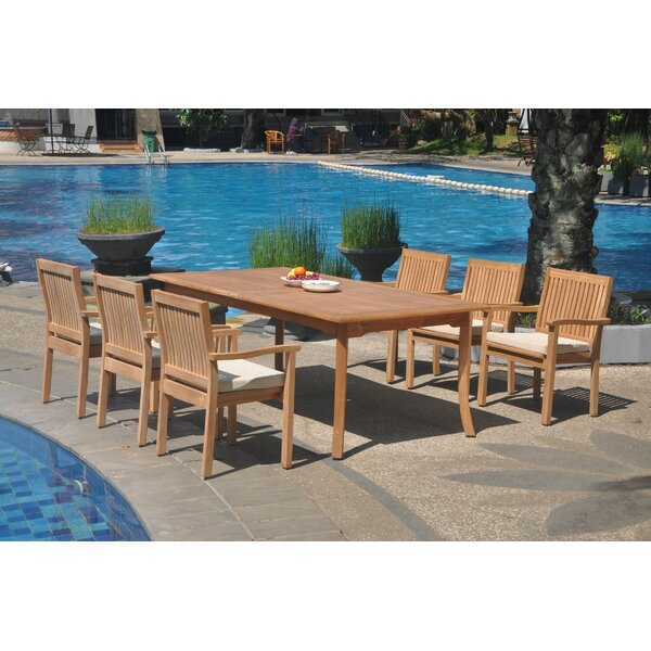 Jamir 7 Piece Teak Dining Set by Rosecliff Heights