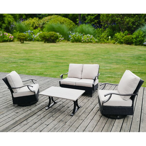 Angus 4 Piece Rattan Wicker Sofa Seating Group with Cushions by Gracie Oaks