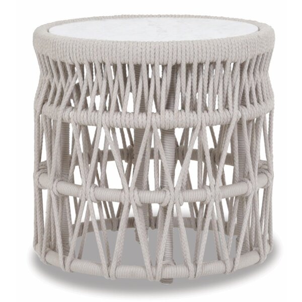 Dana End Table With Honed Carrara Marble Top by Sunset West