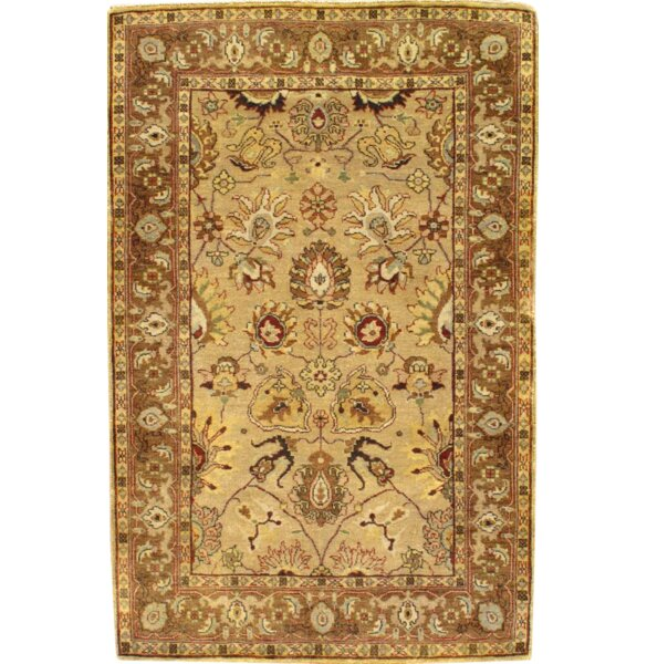 Indo Tabriz Hand Knotted Wool Beige Area Rug by Pasargad NY