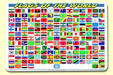 Flags of The World Placemat (Set of 4) by Painless Learning Placemats