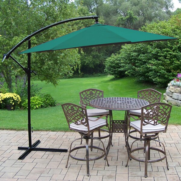 Elite Mississippi 5 Piece Bar Height Dining Set with Cushions and Umbrella by Oakland Living