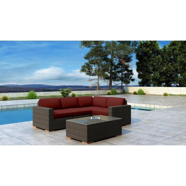 Glen Ellyn 5 Piece Sunbrella Sectional Seating Group with Sunbrella Cushions